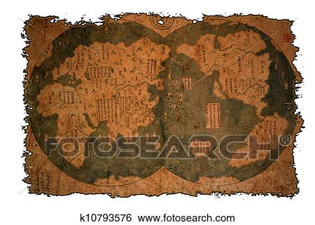 Stock illustration of old chinese world map k10793576 search clip old chinese world map on vintage burned paper background gumiabroncs Gallery