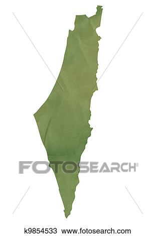 Drawing   Old Green Map Of Israel. Fotosearch   Search Clipart,  Illustration, Fine