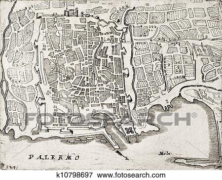 Stock Illustration of Old map of Palermo, Italy k10798697 - Search ...