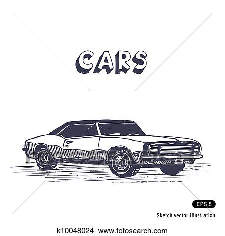 Clipart Of Old Muscle Car K10048024 Search Clip Art Illustration