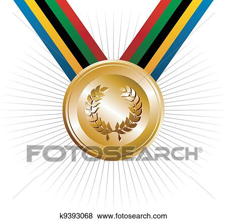 Clip Art Of Olympics Games Gold Medal With Laurel Wreath