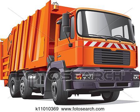 clip art of orange garbage truck k11010369 search clipart rh fotosearch com garbage truck clip art free free trash truck clip art