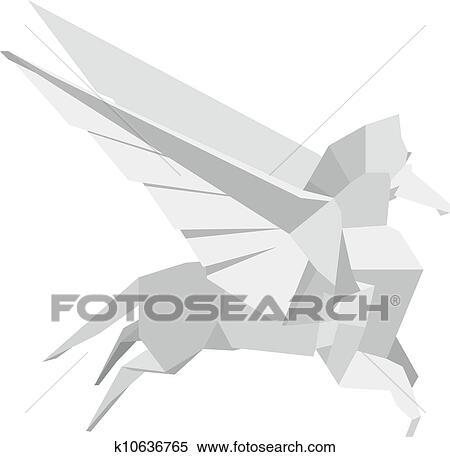 Clipart Of Origami Pegasus K10636765 Search Clip Art Illustration