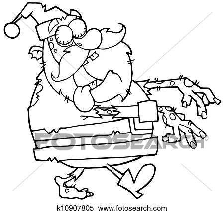 Clipart Of Outlined Santa Zombie K10907805