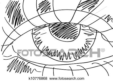 Outlined Sketch Of Abstract Eyes Vector Illustration Clip