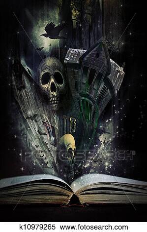 Ouvert Livre Histoire A Halloween Histoires Venir Vivant Banques De Photographies