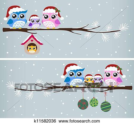 Clip Art Of Owl Family Christmas Celebration K11582036