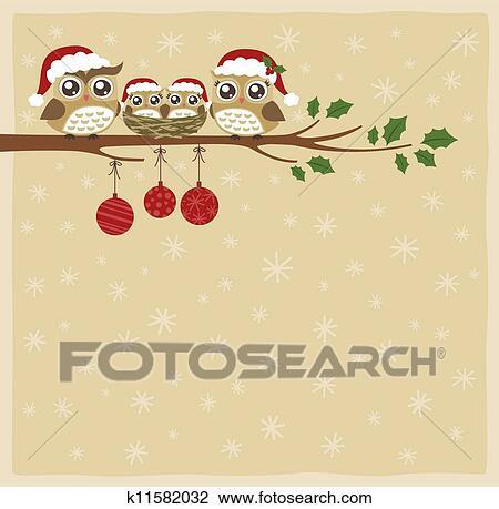 Clipart Of Owl Family Christmas Celebration K11582032