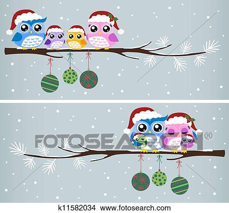 Clipart Of Owl Family Christmas Celebration K11582034