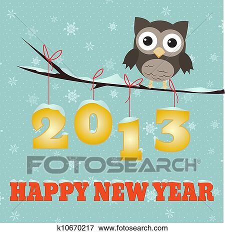 clip art owl happy new year 2013 fotosearch search clipart illustration posters