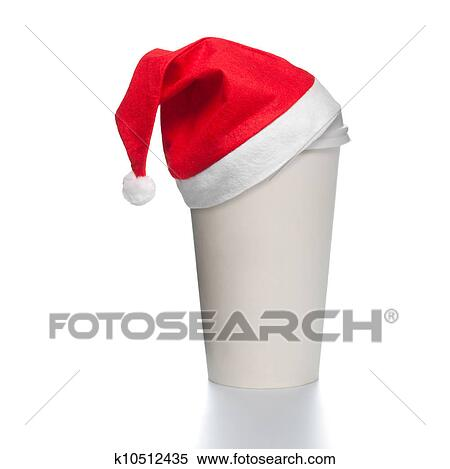 stock image of paper coffee cup with santa hat k10512435 search