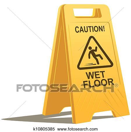 Archivio Illustrazioni - pavimento bagnato, segno attenzione ...
