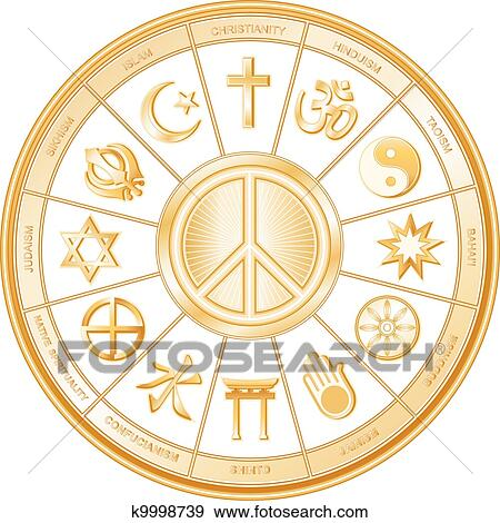 Clip Art Of Peace Symbol World Religions K9998739 Search Clipart
