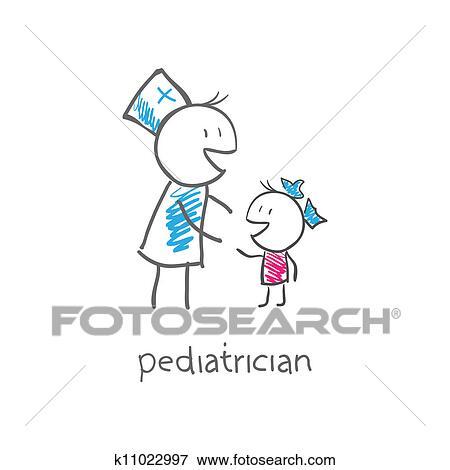 clip art of pediatrician with child k11022997 search clipart rh fotosearch com Stethoscope Clip Art pediatrician doctor clipart