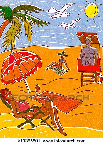 Clipart Of People Relaxing And Suntanning On A Beach K10365501