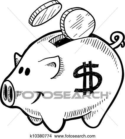 Clipart Of Piggy Bank Sketch K10380774