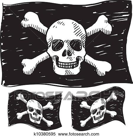 clipart of pirate flag sketch k10380595 search clip art