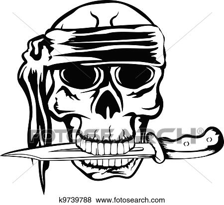 Clip Art Of Pirate With Dagger K9739788