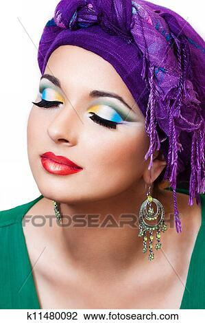 Pretty Girl With Oriental Makeup Stock