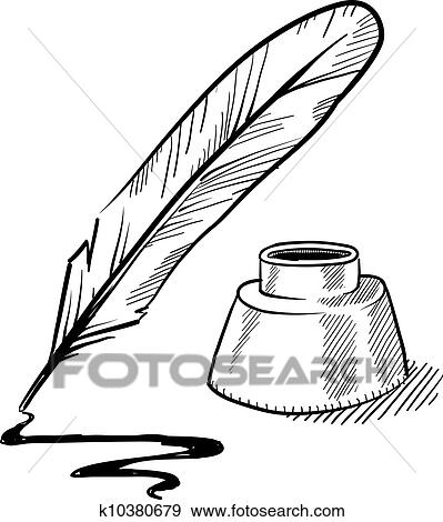 clip art of quill pen and inkwell sketch k10380679 search clipart rh fotosearch com  free clipart images quill pen