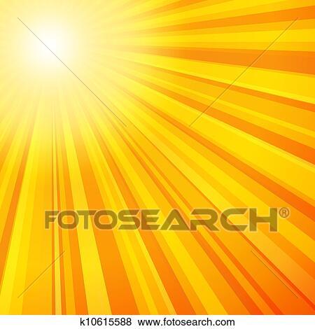 Rayons soleil, dans, jaune, et, orange, couleurs Clipart