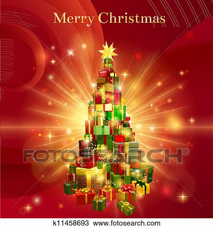 Clipart of Red Merry Christmas Gift Tree Design k11458693 - Search ...