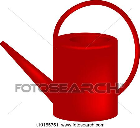 clipart of red watering can k10165751 search clip art rh fotosearch com Watering Can Drawing Watering Can Vector
