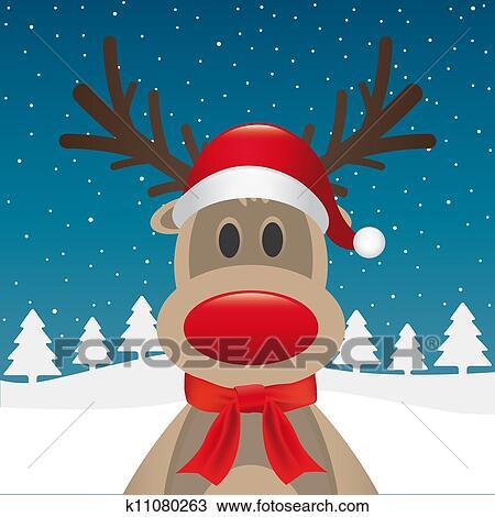 Dessin renne nez rouge charpe p re no l k11080263 - Dessin de renne au nez rouge ...