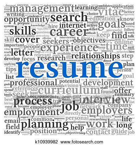 Clip Art Of Resume Concept Words K10939982 Search Clipart