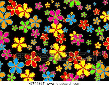 Chic And Funky Wallpaper Design Made Up Of Colourful Retro Style Flowers Set Randomly Against A Black Background