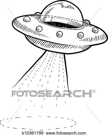 Dessin Soucoupe Volante clipart - retro, soucoupe volante, croquis k10381799 - recherchez