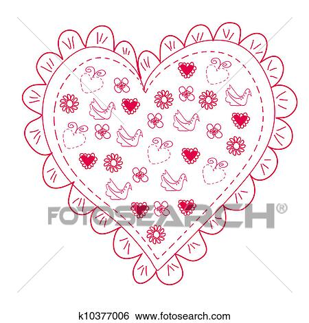 stock illustration of romantic red heart full of flowers and birds