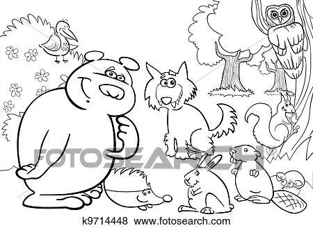 Clip Art - salvaje, bosque, animales, para, libro colorear k9714448 ...
