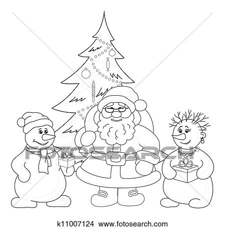 Drawings Of Santa Claus Christmas Tree And Snowmans Outline