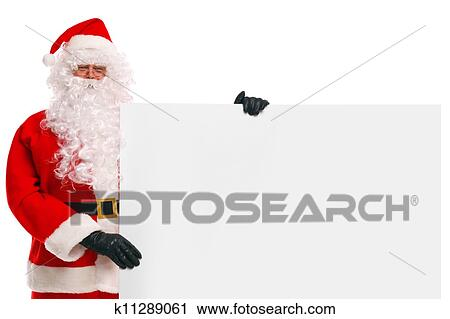 stock photography of santa claus holding a blank sign k11289061