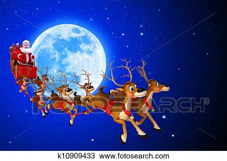 drawing of santa claus sitting in his sleigh k10909433 search