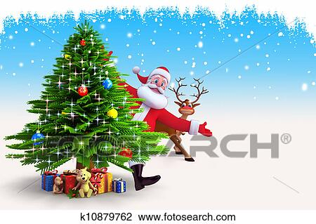 Santa Claus With Christmas Tree Drawing K10879762 Fotosearch