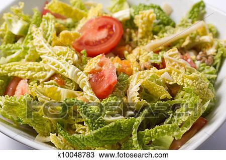 Savoy Cabbage Salad Stock Image K10048783 Fotosearch