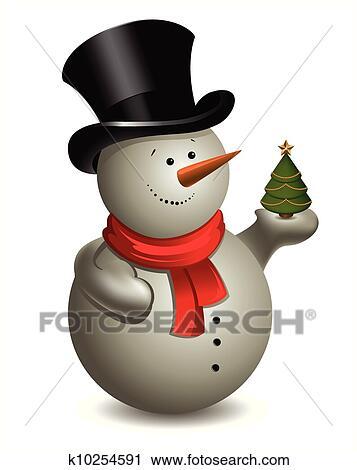 Clipart Schneemann Mit Weihnachten Baum Vektor K10254591