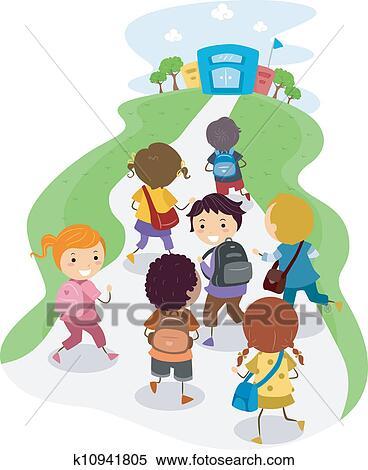 Happy School Kids Around Big Book - Download Free Vectors, Clipart Graphics  & Vector Art