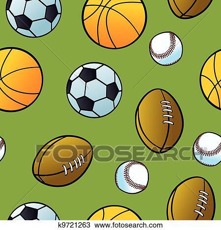 Seamless Cartoon Balls From Popular Team Sports On A Green Background