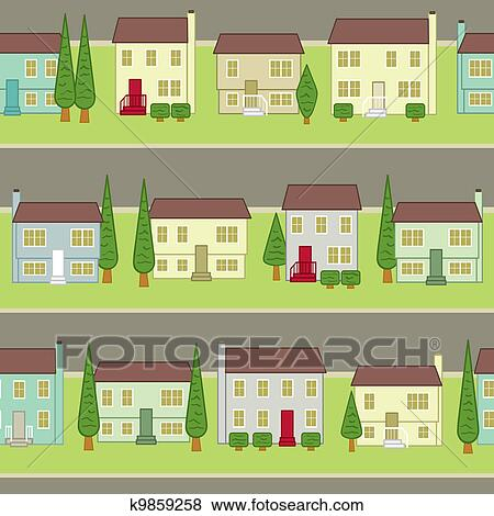 a seamless pattern of a typical suburban planned community pattern creates infinite rows of homes