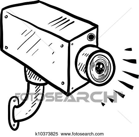 Security Camera Sketch Clipart K10373825