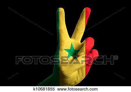 Senegal Bandera Nacional Dos Dedo Arriba Gesto Para