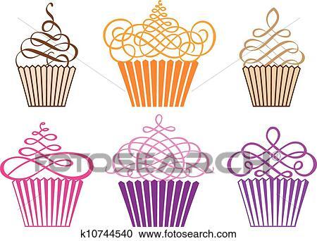 Set Di Cupcakes Vettore Clipart