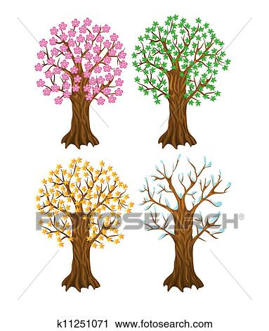 Set Of Autumn Winter Summer And Spring Tree Clipart K11251071