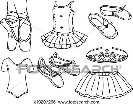 clip art of set of ballerina accessories k10207266 search clipart