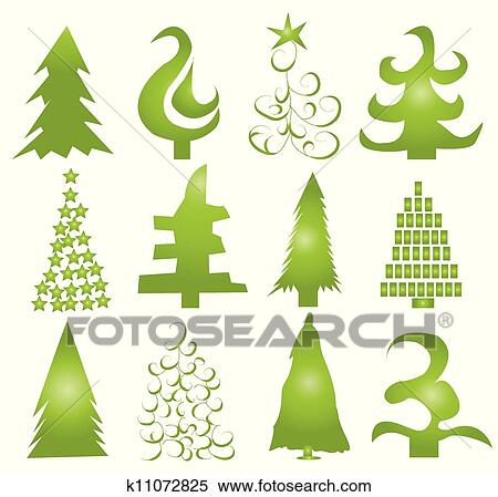 Christmas Tree Vector.Set Of Christmas Trees Vector Iskarpa