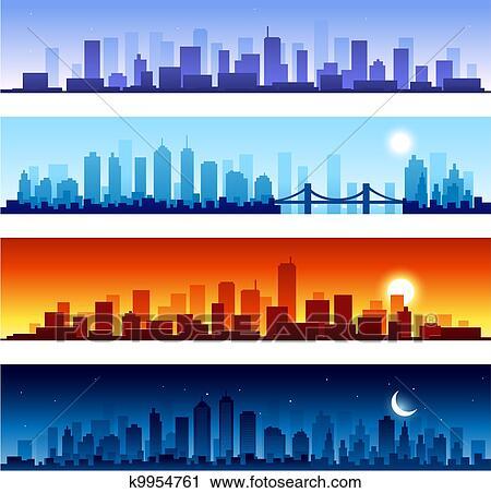 Set Of City Skylines Background Clip Art K9954761 Fotosearch