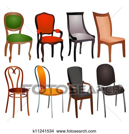 Clipart   Set Of Different Chairs For Home And Office. Fotosearch   Search  Clip Art